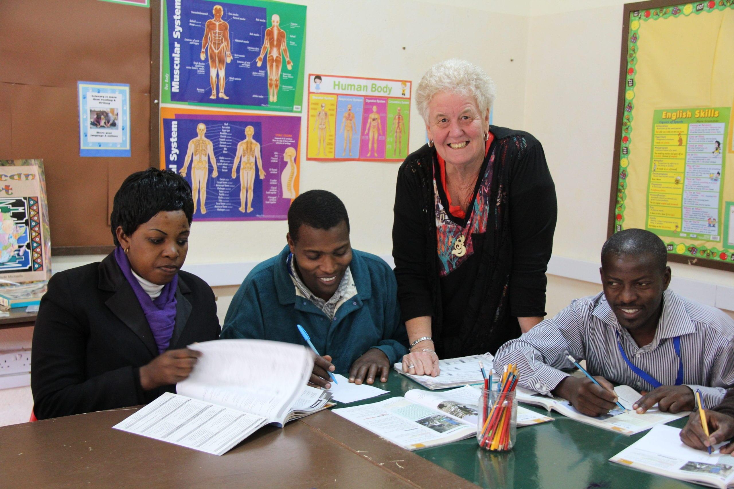 ESL teacher mentor Di Ward with St Jude's staff