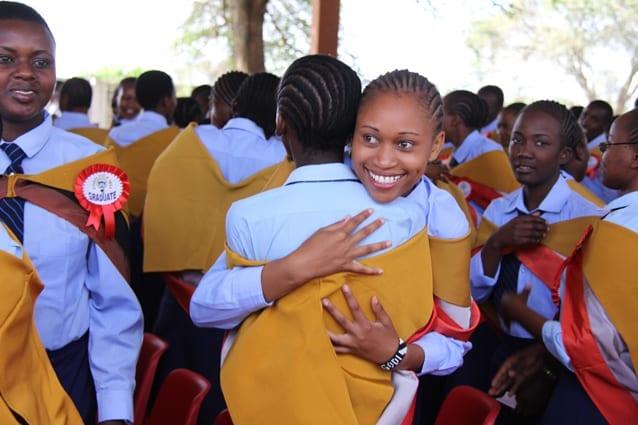 Form 4 student celebrating her results