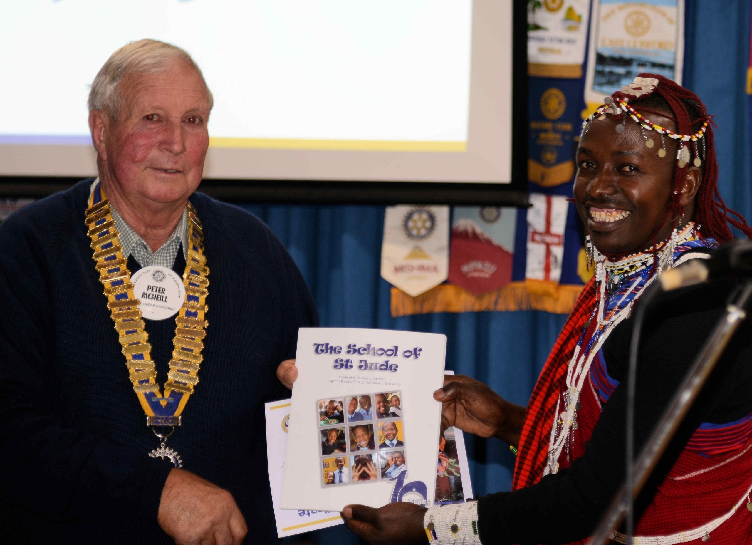 Felix with Rotarian Peter McNeill in Walcha