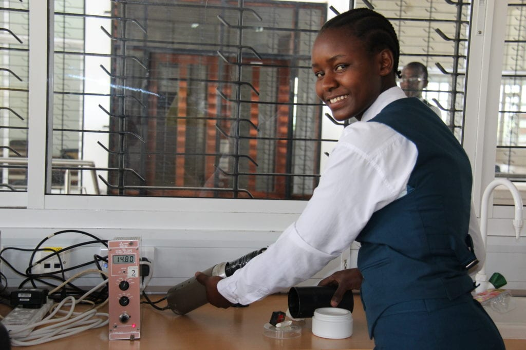 St Jude's student Hosiana working on the Gamma rays detector project