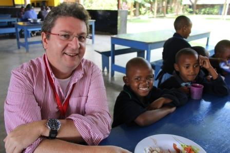 Above: My husband Donald with our sponsored student Salome