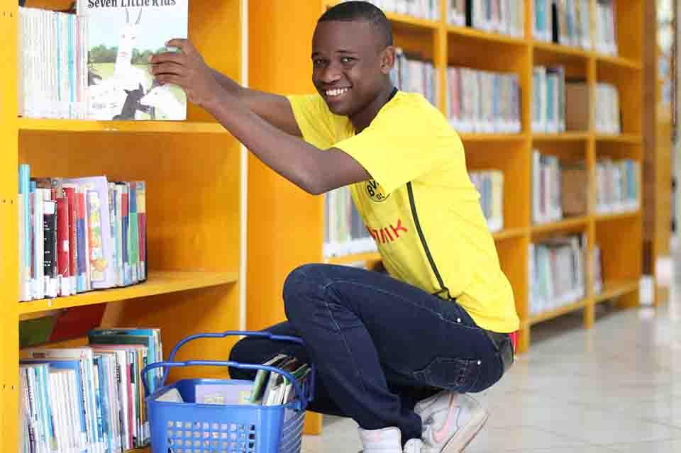 Zuberi helped keep things clean in the school libraries