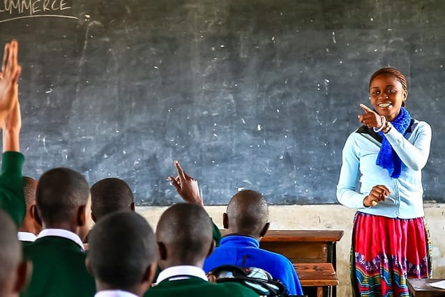 Blandina is using her free education to help students in her local government school.