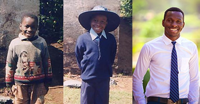 Growing with the school: (left to right) Erick before he was enrolled at St Jude's, Erick with his first uniform and Erick in his Form 6 uniform.