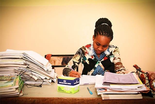 Dorice models determination and discipline: Dorice hard at work preparing lesson plans during her Community Service Year.