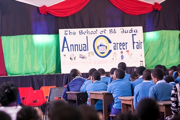 Fairly amazing: Students wait for the annual Careers Day celebrations to begin.
