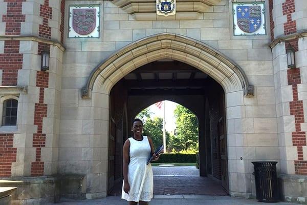 Badge of honour: Vivian at Trinity College.