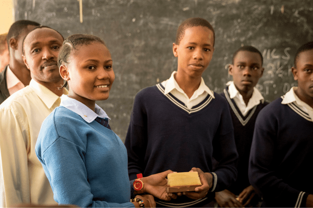 Innovative recycling: Students at Oldadai Secondary School will put the gifts to good use.