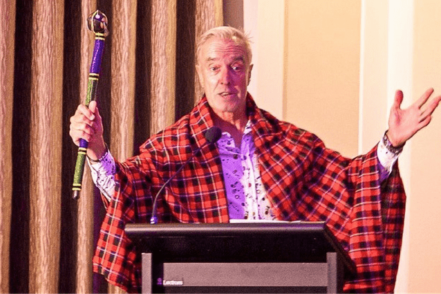 In living colour: St Jude's supporter and Aussie personality Ian Skippen presents at the club's 2016 fundraiser.