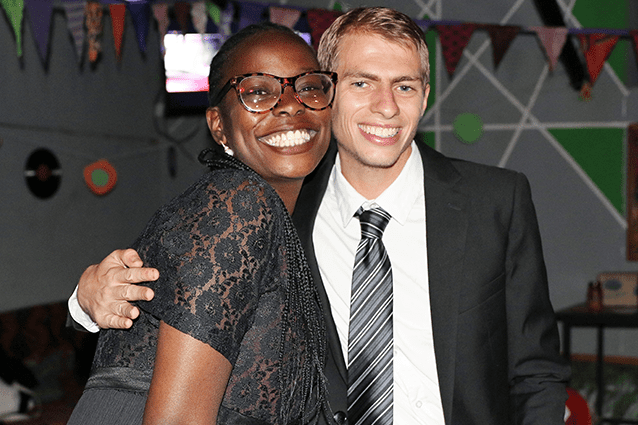 Smiling with success: Treasurer Viv and president Seb having a good time on the night.