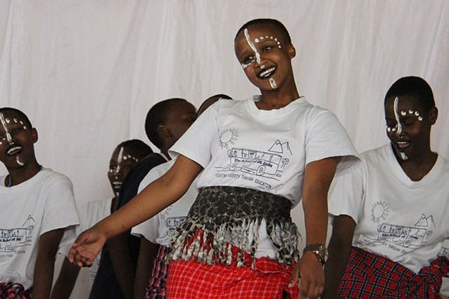 Centre stage: Laura's sponsor student, Hadija (Form 1), performed for an audience of 2000 on St Jude's Day.