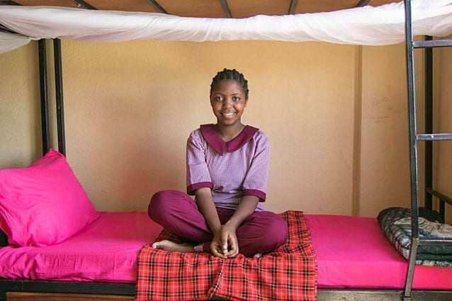 Comforts of home: Irene has a safe place to study and sleep in our well-equipped boarding house.