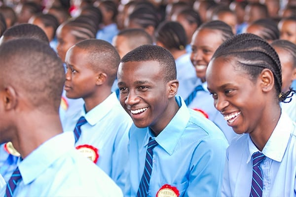 Enjoying the ceremony: Some Form 4 students in high spirits.