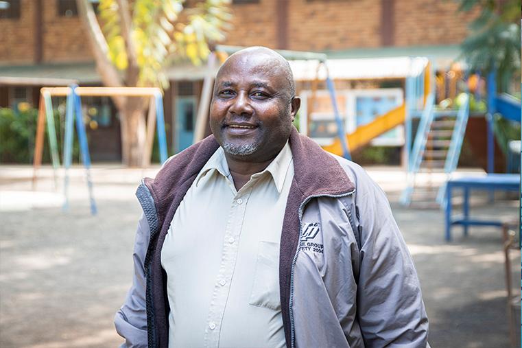 A Friendly Neighbour: Mr Didas enjoys a tour of the school.
